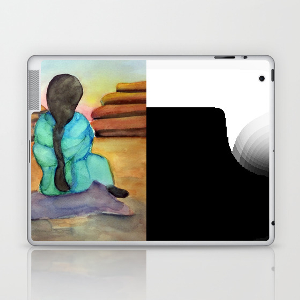 Woman Sitting On Rock Laptop & Ipad Skin by Desertsart LSK8442675