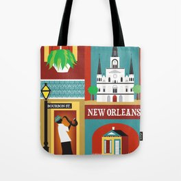 New Orleans, Louisiana - Collage Illustration by Loose Petals Tote Bag
