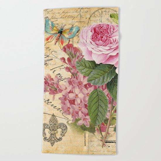 Vintage Flower #23 Beach Towel