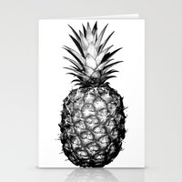 pinapple Stationery Cards featuring Black & White Pineapple by CumulusFactory