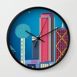 Dallas, Texas - Skyline Illustration by Loose Petals Wall Clock