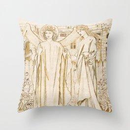 "Edward Burne-Jones ""Chaucer's 'Legend of Good Women' - Amor and Alcestis"" Throw Pillow"