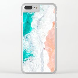 Beach Illustration Clear iPhone Case