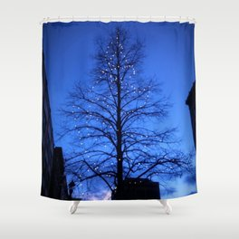 Downtown Christmas Tree Shower Curtain