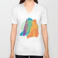 headdress V-neck T-shirts featuring Headdress  by kpatron