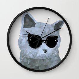 Low poly hipster british cat Wall Clock
