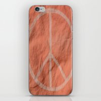 tote bag iPhone & iPod Skins featuring Peach Peace Sign (Bag Art) by AriesArtNW.com