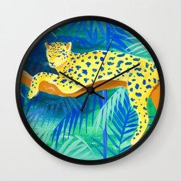 Leopard on Tree Wall Clock