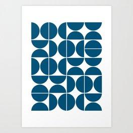 Mid Century Modern Geometric 04 Blue Art Print