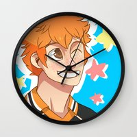 haikyuu Wall Clocks featuring Hinata Haikyuu!! by Dreki