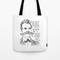 nietzsche Tote Bags featuring Friedrich Nietzsche by Alexandra Ensign