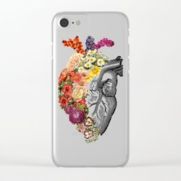 Flower Heart Spring White Clear iPhone Case