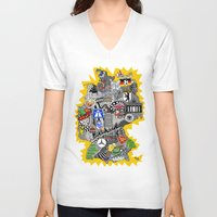 germany V-neck T-shirts featuring Germany Doodle by Rebecca Bear