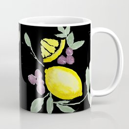 Lemons on Black Coffee Mug