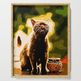 british shorthair cat ready to attack vector art Serving Tray