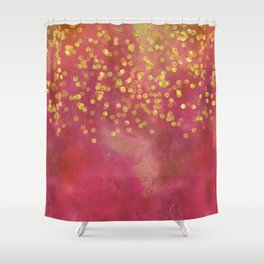 Golden Sparkles on Red Shower Curtain
