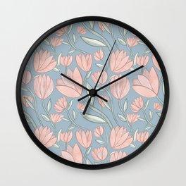 Soft Pink Florals w/ Blue Wall Clock