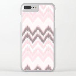 Girly blush pink pastel modern elegant ikat pattern Clear iPhone Case