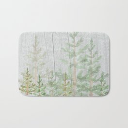Pine forest on weathered wood Bath Mat