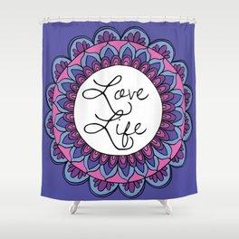 Love Life Mandala Ultraviolet Shower Curtain