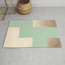Simply Geometric White Gold Sands on Pastel Cactus Green Rug