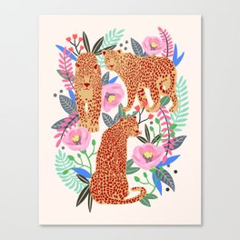 The Leopards, leopard print, animal print, flower print Canvas Print