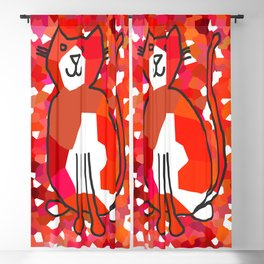Crystal Cat - Red Blackout Curtain