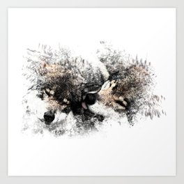 Abstract Wolf Art Print