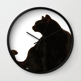 Halloween Black Cat Silhouette  Wall Clock