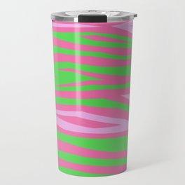 Punky Pink And Green Stripy Animal Print Travel Mug