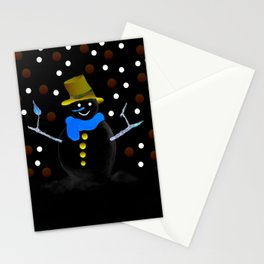 Snowman in the night Stationery Cards
