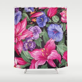 Large Pink and Purple Flowers with Green Leaves Shower Curtain