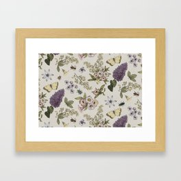 spring flowers with butterfly and beetles II Framed Art Print