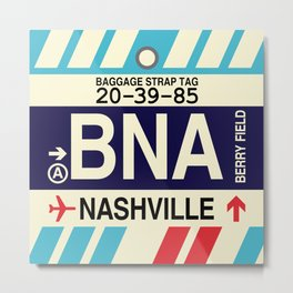 BNA Nashville • Airport Code and Vintage Baggage Tag Design Metal Print