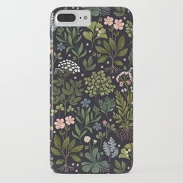 Herbarium ~ vintage inspired botanical art print ~ black iPhone Case