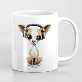 Cute Chihuahua Puppy Dog Wearing Headphones Coffee Mug