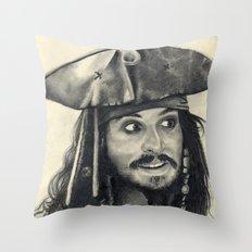 Captain Jack Sparrow ~ Johnny Depp Traditional Portrait Print Throw Pillow
