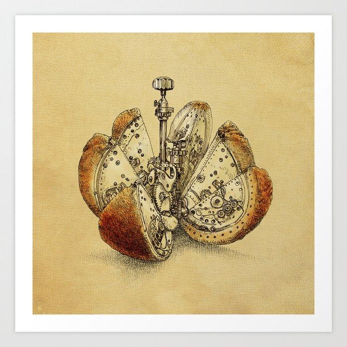 Steampunk Orange (sepia) Art Print