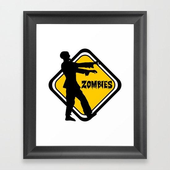 Caution Zombies Framed Art Print