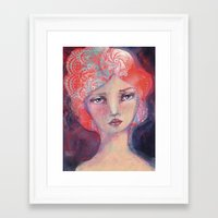 jane davenport Framed Art Prints featuring Folie by Jane Davenport ( with logo) by Jane Davenport