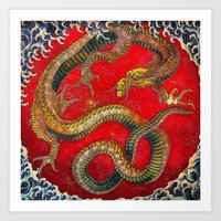 Embossed Hokusai Dragon Seal Very High Quality Art Print