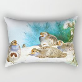 Archibald Thorburn - English partridge with gorse and thistles - Digital Remastered Edition Rectangular Pillow