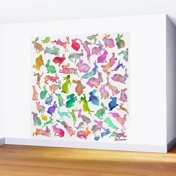 Watercolour Bunnies Wall Mural