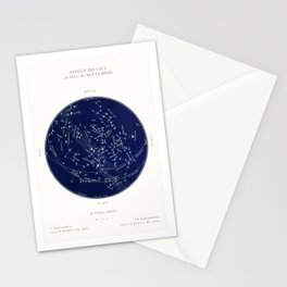 French September Star Map in Deep Navy & Black, Astronomy, Constellation, Celestial Stationery Cards