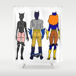 Superhero Butts Love 7 - Cat Bats Shower Curtain