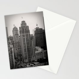 Chicago Tribune Tower Building Black and White Photo Stationery Cards