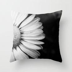 Black and White Flower Macro photography monochromatic photo Throw Pillow