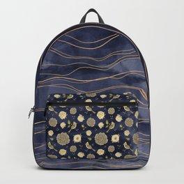 Gold, indigo, florals and birds art deco Backpack