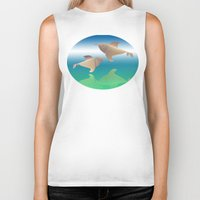 dolphins Biker Tanks featuring dolphins by Ruud van Koningsbrugge