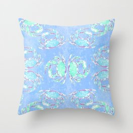 Watercolor blue crab Throw Pillow